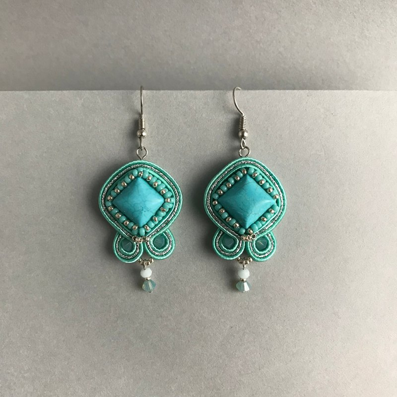 Soutache earrings Turquoise