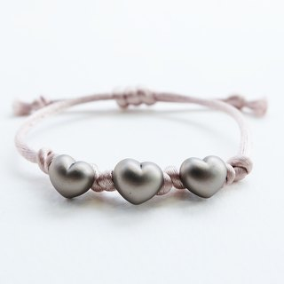 Three hearts knot with gray rope bracelet