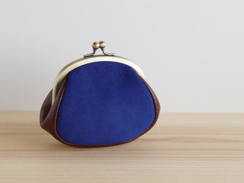 Nubuck leather gypsum mini pouch blue