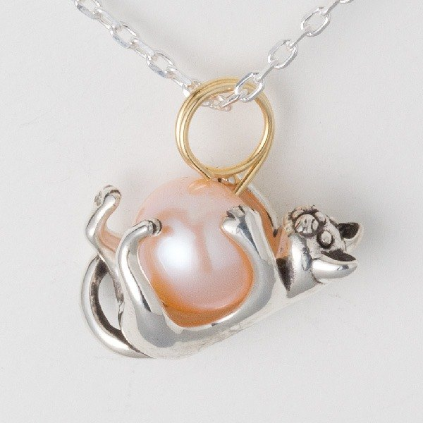 Pendant top with kittens hugging pink pearl