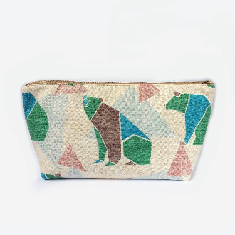 熊 日本棉麻 化妆包 / 杂物包 / 萬用包 Large Zip Pouch Clutch, Origami Bear