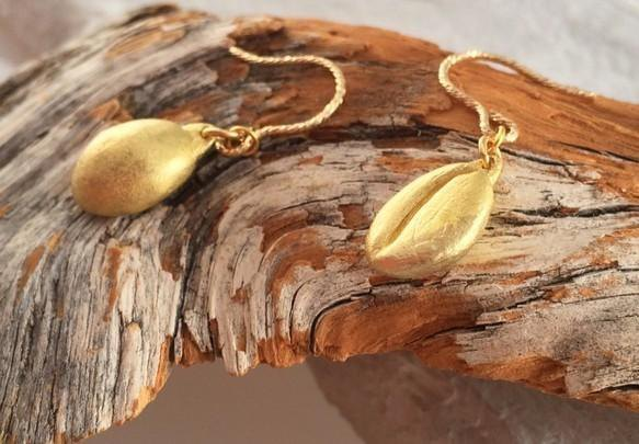 Coffee beans gold earrings