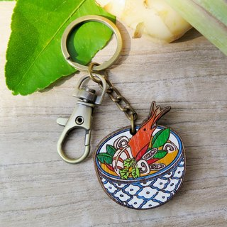 "Wooden Keyring Thai Food ""Tom Yum Kung"""