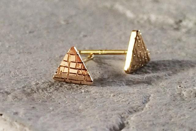 Large pyramid · small pyramid K14 earrings