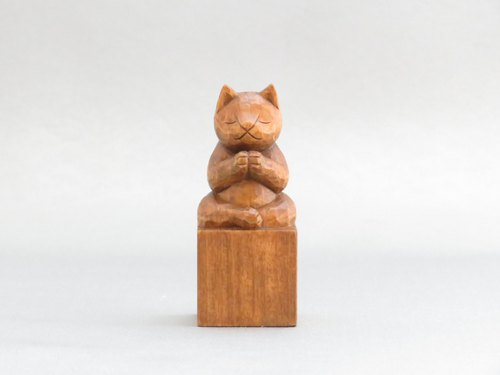 Carving wood carving cat cute cat