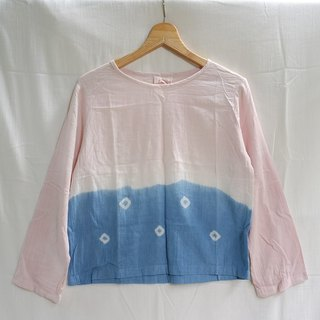 linnil: blue dots dip dye long-sleeve shirt natural dye