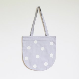 polka dot cat tote bag : lilac