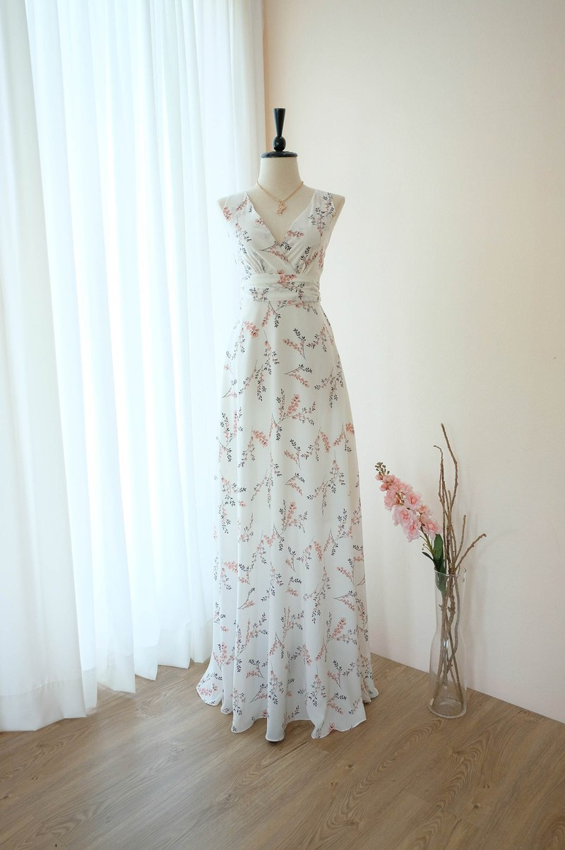 White dress Maxi bridesmaid dress floral cocktail prom party vintage dress