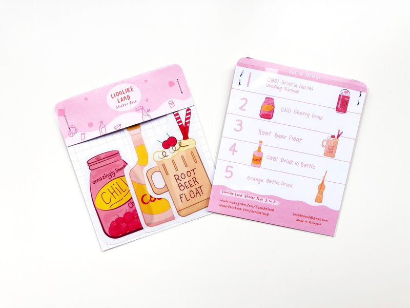 Waterproof stickers | Retro Drinks | 3 stickers | 5 stickers | Stationary