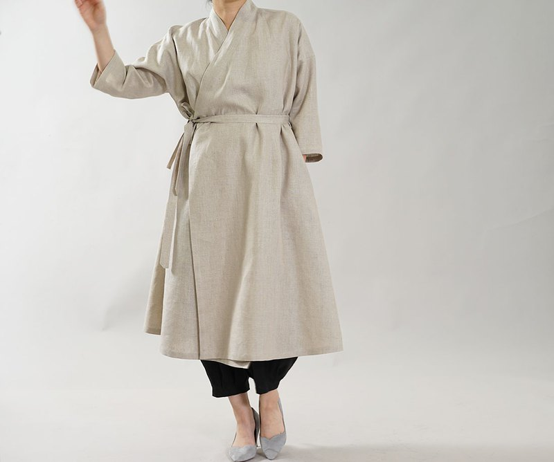 wafu Linen coat with Japanese style / long sleeves / beige h037c-amn2