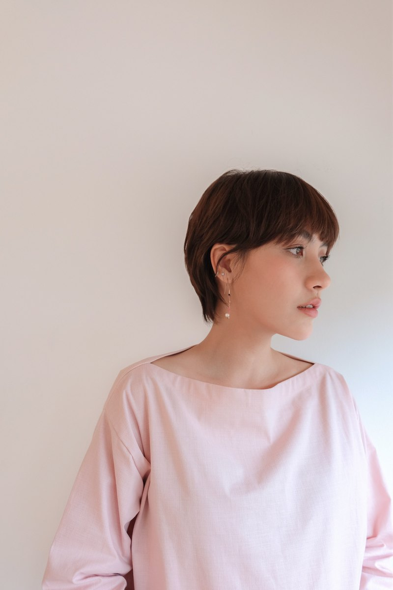 PALINI Boat Neck Shirt - Pale Pink