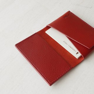 [Make-to-order production] Italian leather Business Card Case red