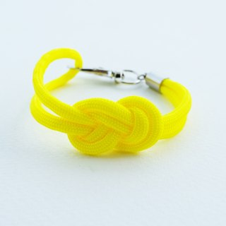 Paracord infinity-knot with metal clip bracelet in NEON YELLOW