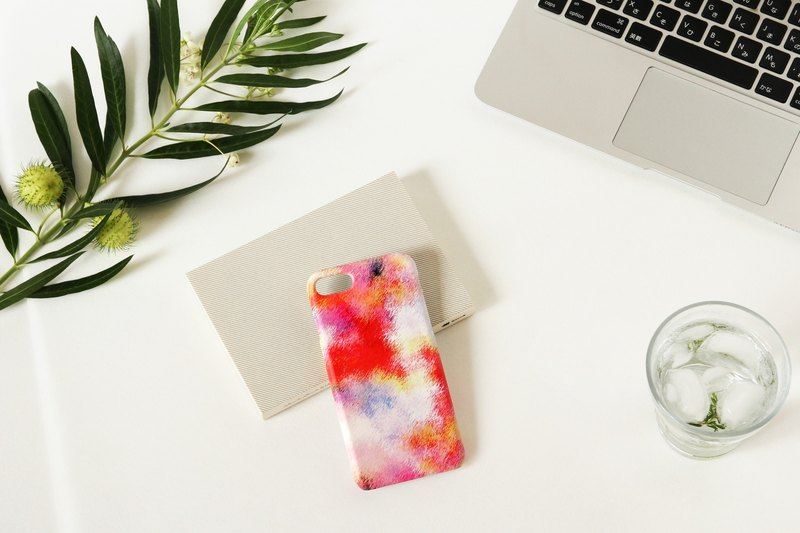 [Order Production] iPhone / Android Case | Red fog and pink empty smart case