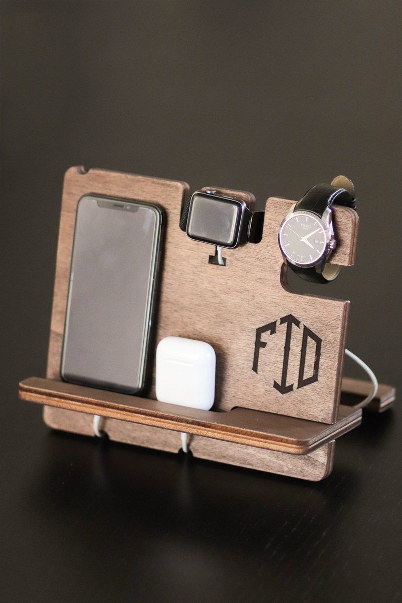 iPhone Docking Station Personalized Wood Mens Wallet Apple Watch Station Custom