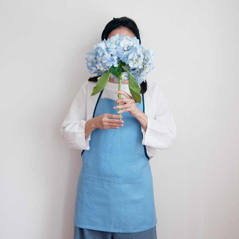 Linen Apron in French Blue Handmade Apron Gift Color Block