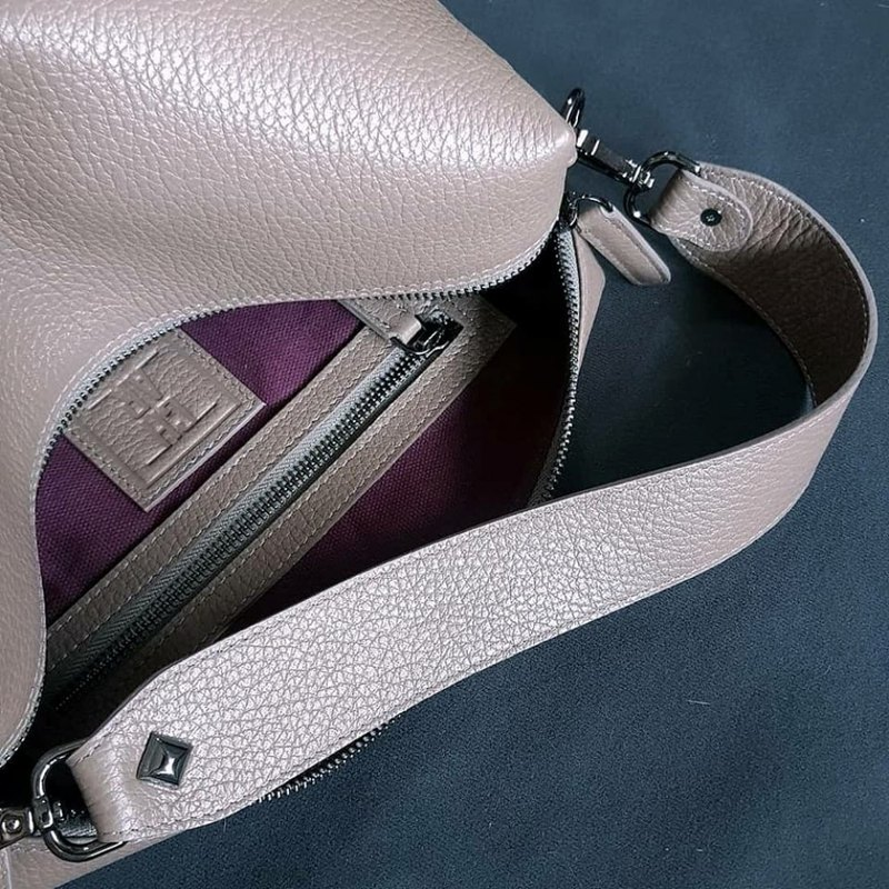 SUBMARINE (Taupe) soft leather bag with double straps