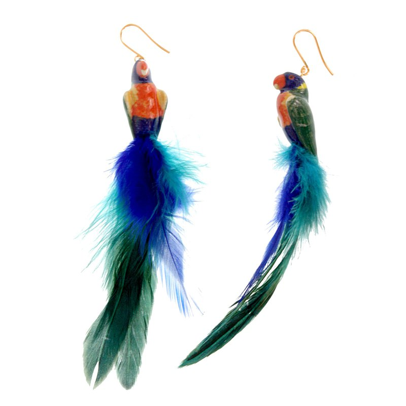 Rainbow Parrot Earrings with Feather