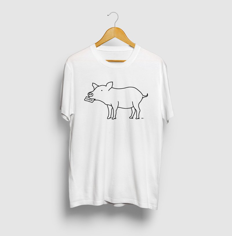 Piglet Love Letter Pig Animal Illustration T-shirt