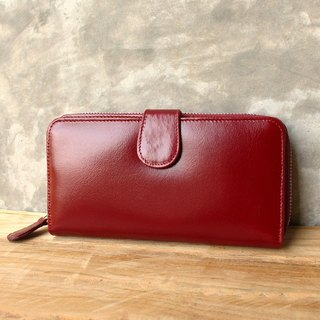 Leather Wallet - Zip Around Plus - Dark Burgundy / Red (Genuine Cow Leather)