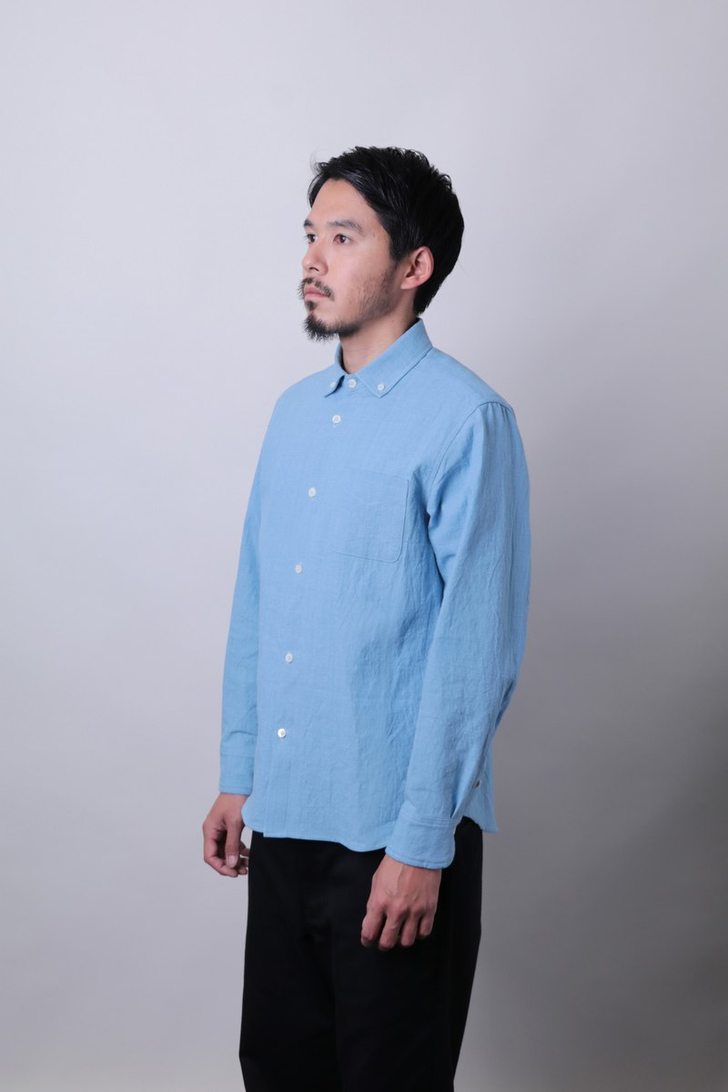 Post Bibiku clip and knit thin light blue button down shirt made in Japan