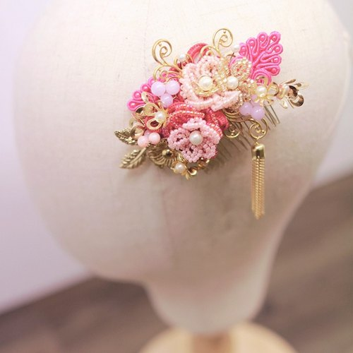Handmade Beads Bridal Headpiece, Oriental headpiece 华丽新娘中式发饰