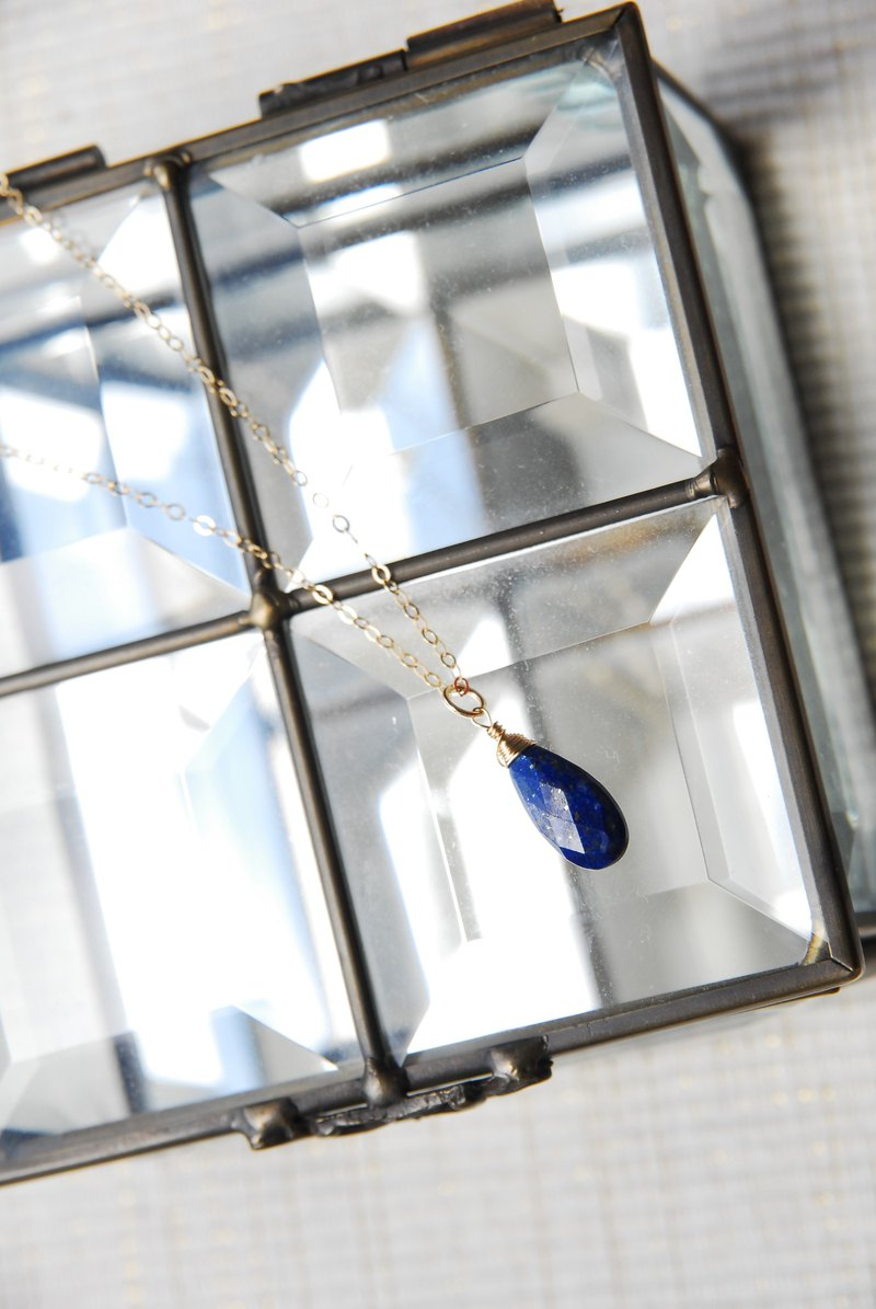 A little longer Lapis lazuli drop necklace 14 kgf