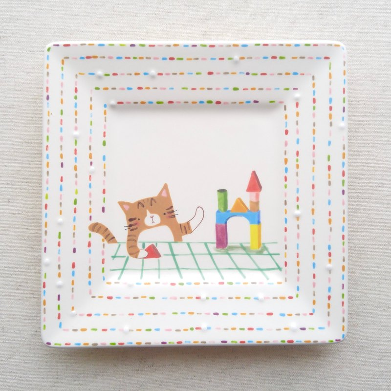 Pottery plate 【Let's play with blocks】cat