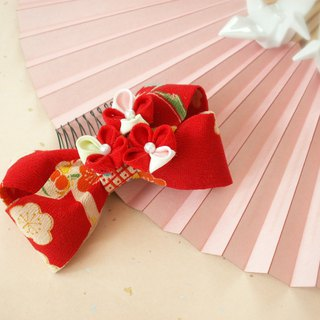 """Re-selling"" knife's hair ornament Using old cloth [Ribbon · red]"