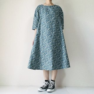 Flower pattern floral dress dress cotton linen five-quarter sleeve