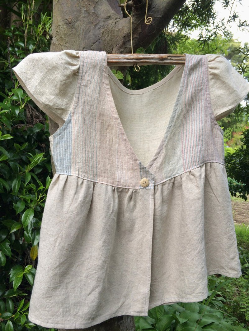 Hand-woven hemp and front linen blouse LH-3