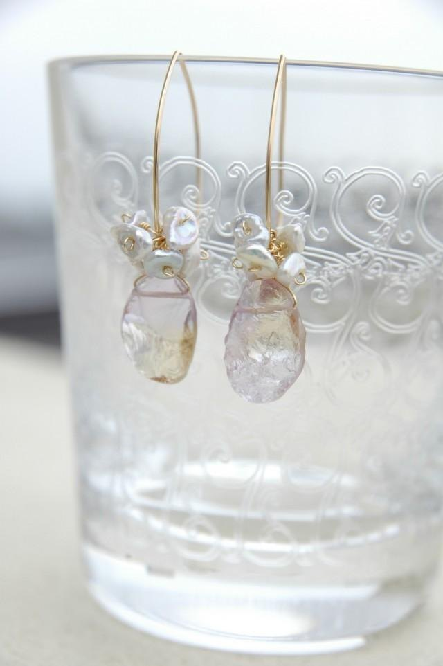 Rough Rock Ametryn and Sazareparu earrings (14 gold gf)