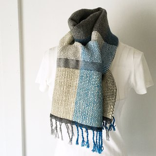 "Unisex hand-woven scarf ""Blue & Gray Mix"""