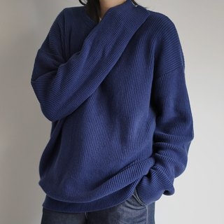 Oversized round collar royalblue cotton sweater