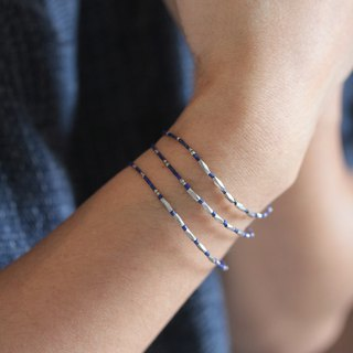 Diamond shape silver beads with dark blue lapis lazuli bracelet (B0021)