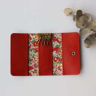Key case Red cow leather and Liberty print