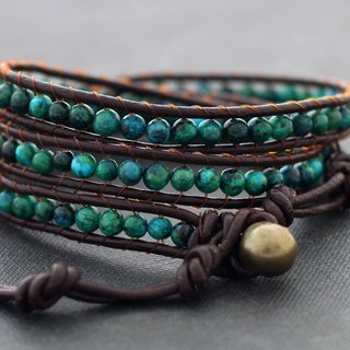 Stone Leather Wrap Bracelets Simple Unisex Boho