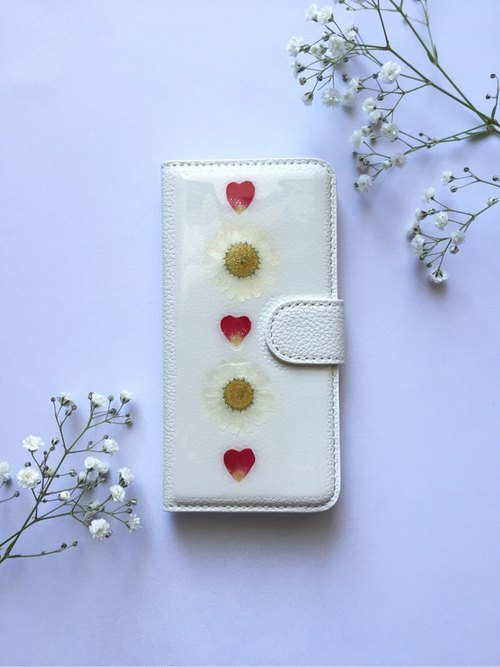 Notebook type iPhone case flowers and heart