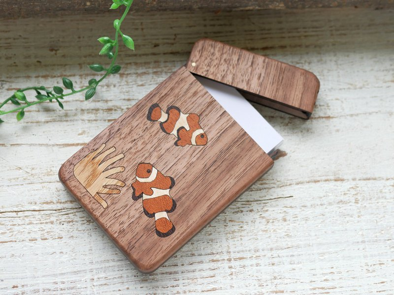 Wooden business card holder / walnut / Anemone fish