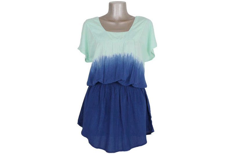Gradient square neck dress <Mint Blue>