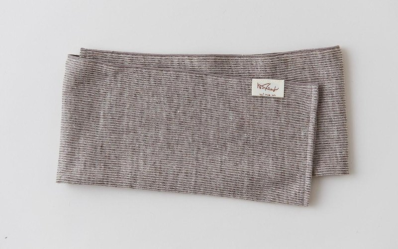 Linen Knit Stripe Face Towel Brown × Natural