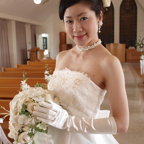 Wedding Gloves [satin long gloves] elbow under length off-white