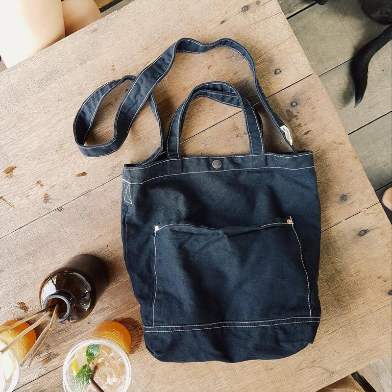 New Black Little Canvas Tote / Weekend bag / Shopping bag