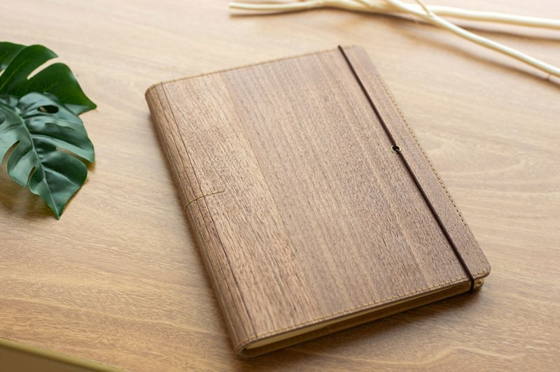 Prow Natural Wood Cover Elastic Strap NoteBook , Refillable A5, Walnut