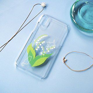 Clear android phone case - Lily of the valley and Cat -