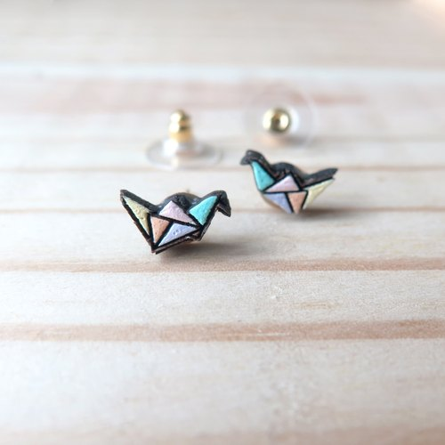 Wooden Earring Origami Bird