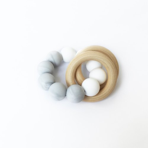 COLOR BLOCK TEETHER - WHITE MARBLE