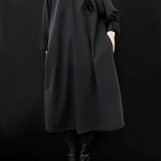 Origami Collar Puff Sleeves Dress/ 100% Virgin Wool /  Made in Italy
