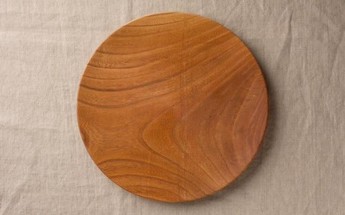 Wood 24cm of the potter's wheel grind of wooden plate Zelkova (Zelkova) 08