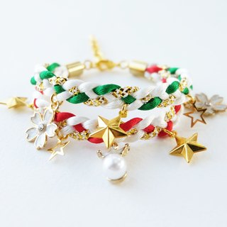 Christmas gift collection , Red/Green/White/Gold double layer braided bracelet with charms